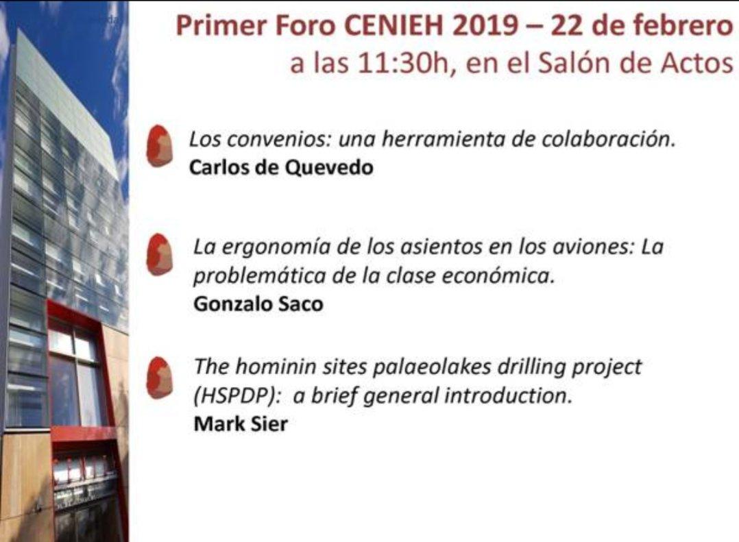 """Comienza el I Primer Foro CENIEH @cenieh del año 2019. El gerente, Carlos de Quevedo, nos explica: """"Los convenios: una herramienta de colaboración"""" #ICTSNews @CENIEH_Labs"""