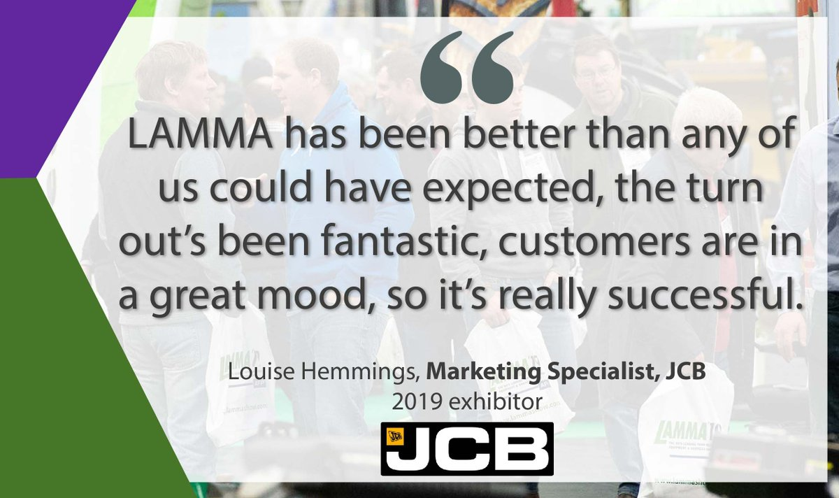 We spoke to @JCBAgriculture at #LAMMA19, who had a successful two days on their impressive stand with product launches and brand new technology on show! Want to be at #LAMMA20? Speak to our sales team to discuss your options today https://buff.ly/2S4MslH