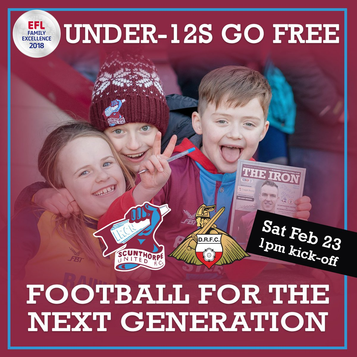 ⚽️👦👧 Derby day and sure to be a great atmosphere, take advantage of our U12s go free offer when we face Doncaster at GP tomorrow and introduce more young fans to the Iron.  Full terms and conditions 👉 https://t.co/JwvsT5UhNs  #UTI  #IRON