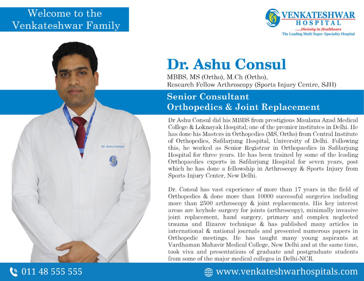 Venkateshwar Multi-Super Speciality Hospital welcomes Dr  Ashu