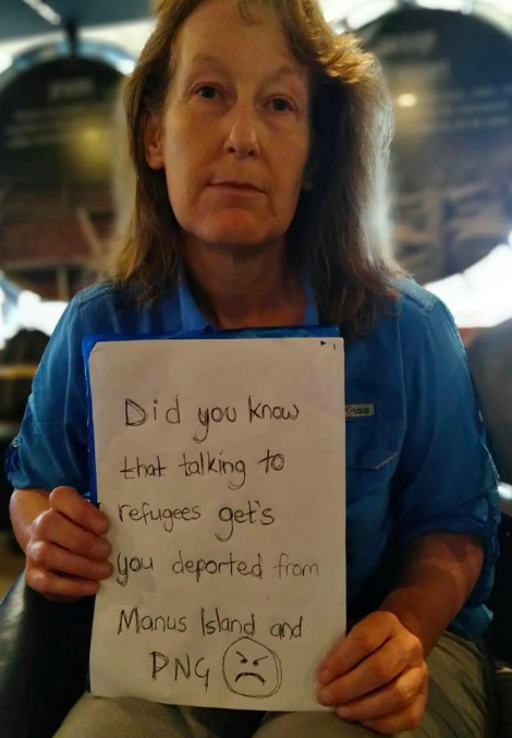 Humanitarian Dawn Barrington deported from #Manus for &quot;illegally&quot; talking to #Refugees #Auspol <br>http://pic.twitter.com/QbrH1VMIvY