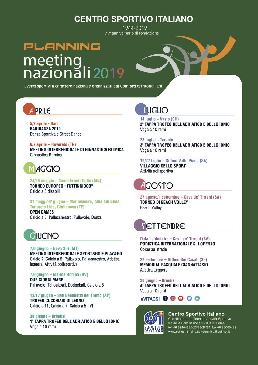 Calendario Csi.ট ইট র Csi Definito Il Calendario Dei