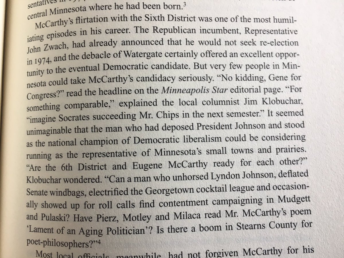 Reading @dcsandbrook's biography of Eugene McCarthy and Amy Klobuchar's dad pops up