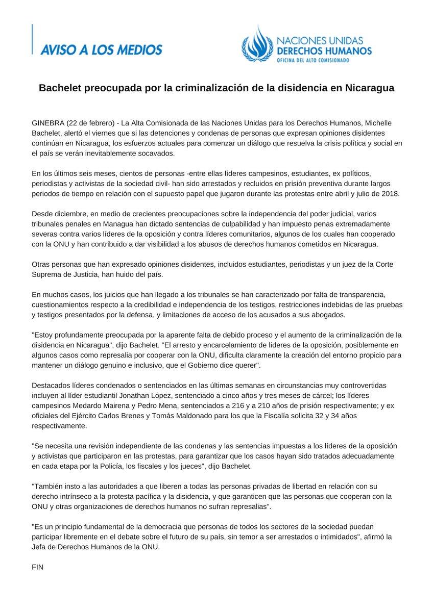 #Nicaragua - @mbachelet alertó hoy que si las detenciones y condenas de personas que expresan opiniones disidentes continúan, los esfuerzos actuales para comenzar un diálogo que resuelva la crisis política y social en el país se verán inevitablemente socavados.
