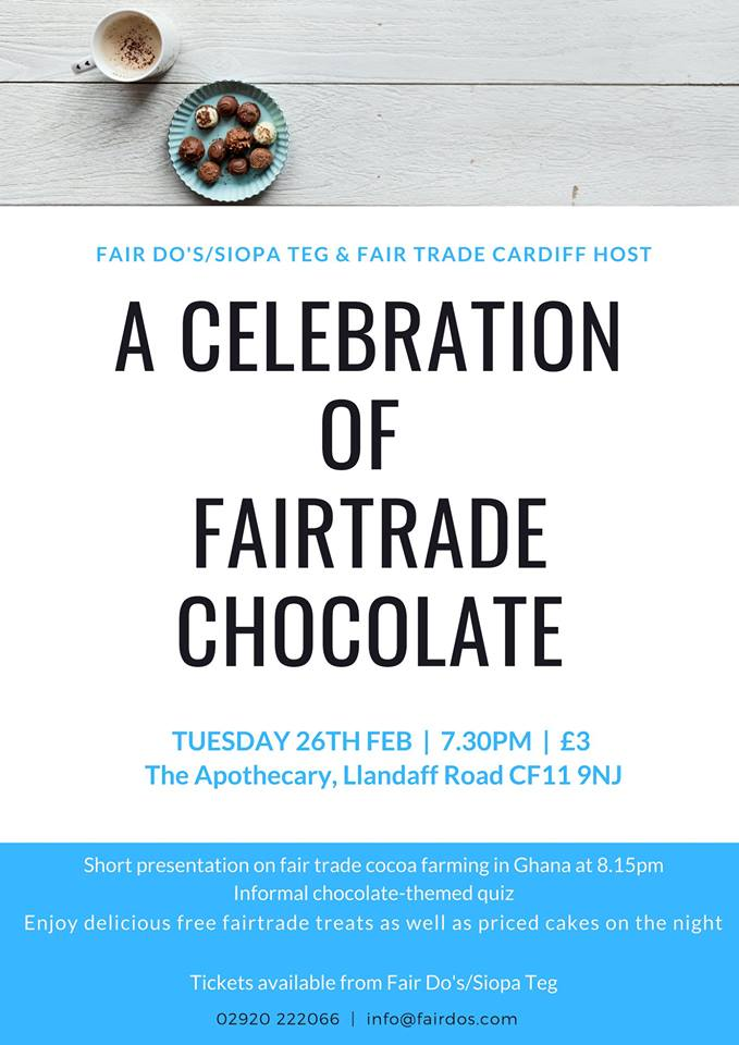 test Twitter Media - More chocolate!😊 We will be hosting a small chocolate-themed event during fairtrade  fortnight at @ApothecaryDiff . Enjoy delicious treats, quiz and a short presentation by  Sue Fisher about her recent trip to a cocoa farm in Ghana.  Join us if you can. Tickets £3 at Fair Do's. https://t.co/gXpkp1Cx7H