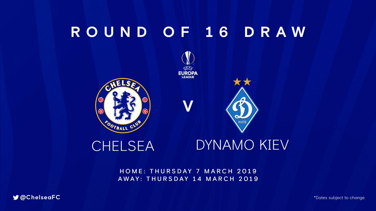 The Blues will face Dynamo Kiev in the next round of the Europa League, with the first leg to be held at Stamford Bridge. 🤝