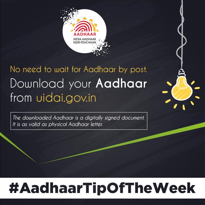 #AadhaarTipOfTheWeek  Didn't get Aadhaar by post? Download your Aadhaar anytime, anywhere from:  https:// eaadhaar.uidai.gov.in/#/  &nbsp;     Downloaded Aadhaar is equally valid as Aadhaar letter.<br>http://pic.twitter.com/ki1Wjip5g6