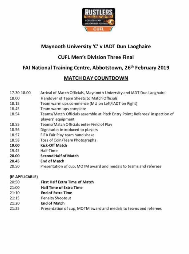Massive occasion this coming Tuesday the 26th of February for our freshers squad who will compete in the CUFL Division 3 Final at FAI HQ Best of luck lads  All support welcome ⚽️💪🎓 @MaynoothUni @gomaynooth @gomaynooth @SonasBathrooms