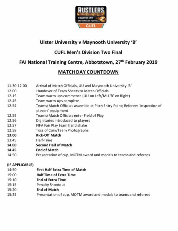 @MUAFC_ Men's B squad will take their place in the CUFL Division 2 Final at FAI HQ in Abbotstown this coming Wednesday 27th 💪⚽️🎓 The very best of luck lads  All support welcome  @MaynoothUni @gomaynooth @SonasBathrooms @thirdlevelfootb