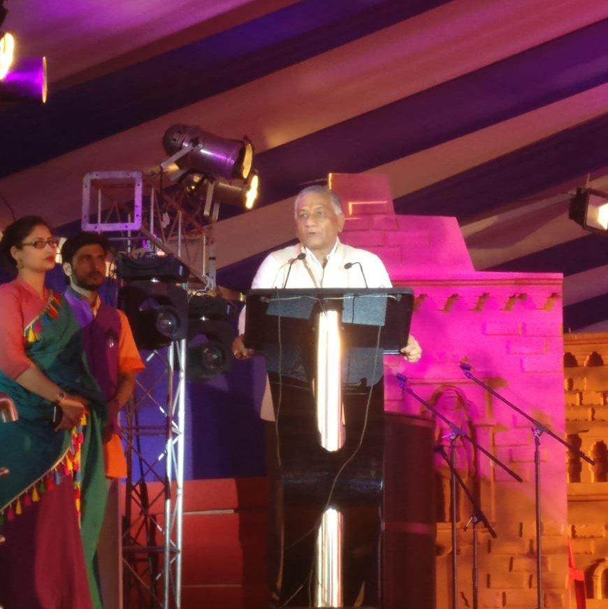 Minister of State for External Affairs, Gen. VK Singh, @Gen_VKSingh, addressing the delegates. @PrayagrajKumbh #Kumbh2019