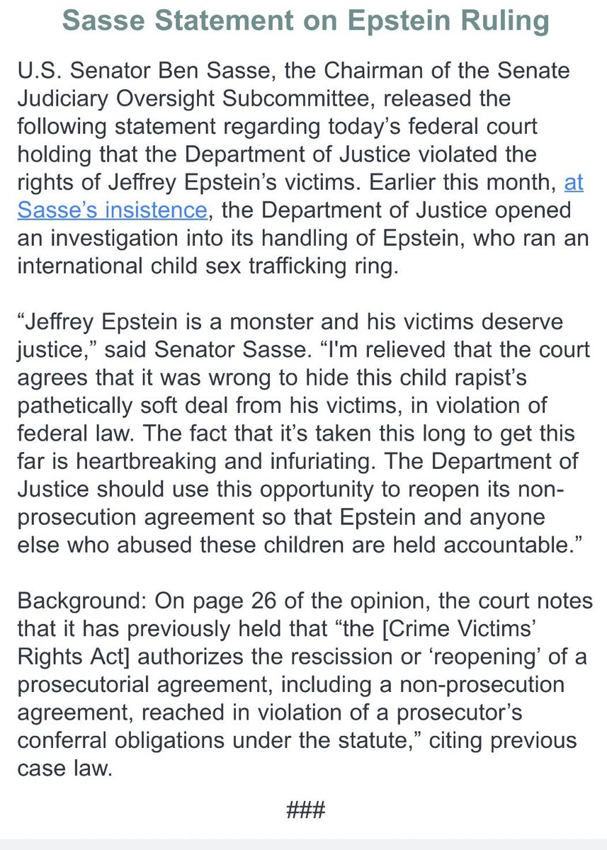 Sasse says given judge's order, DOJ should reopen the non prosecution agreement with Epstein and prosecute him —