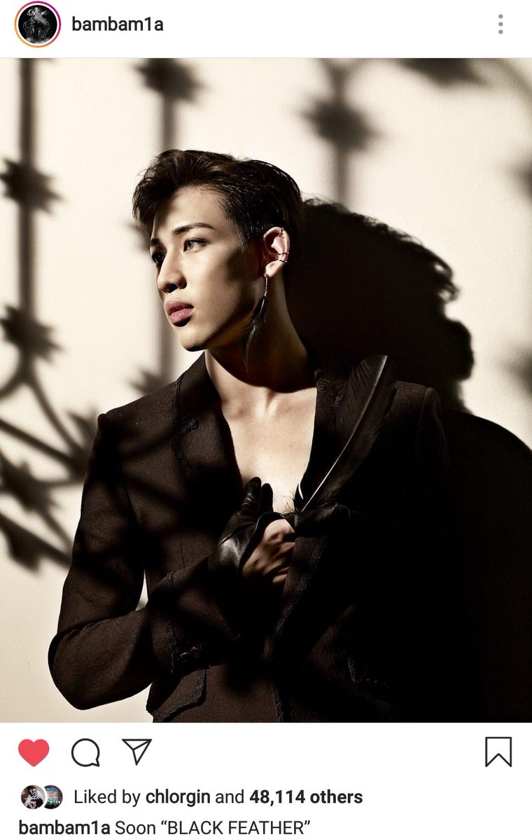 BamBam&#39;s IG update : &quot; Soon BLACK FEATHER &quot;. He looks so good omg   @GOT7Official #GOT7 #갓세븐<br>http://pic.twitter.com/vFxix3Rw5N