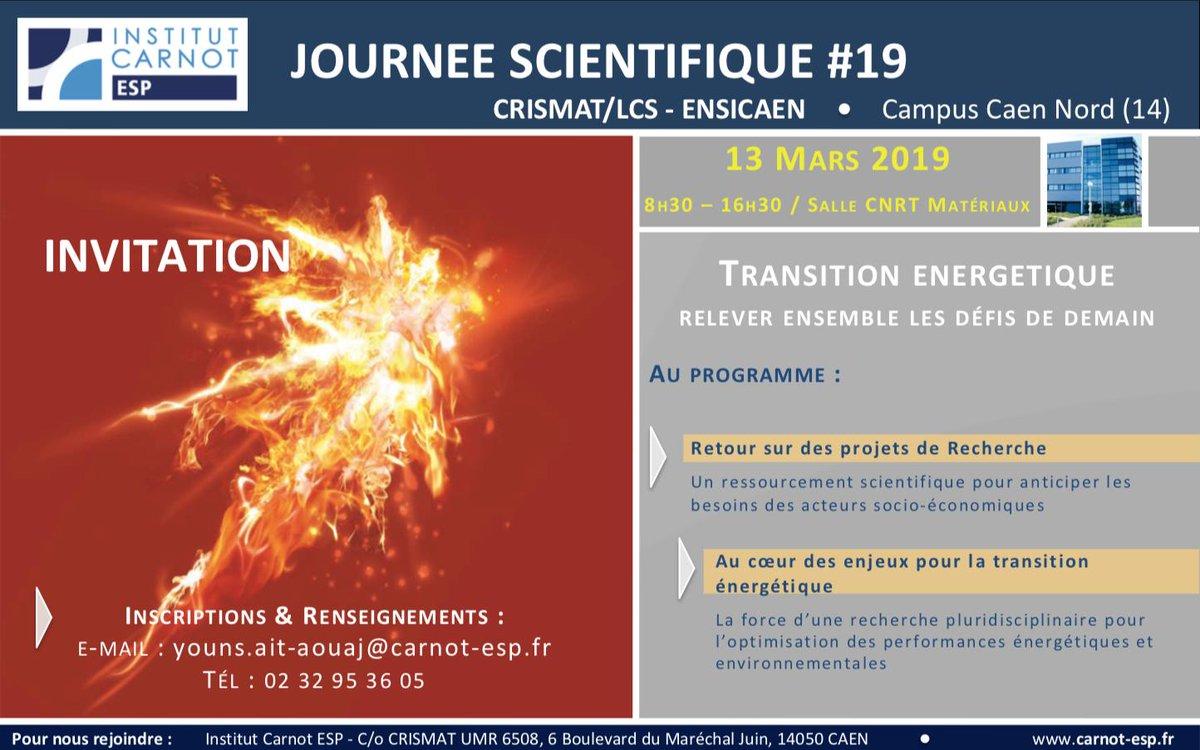 Le @labo_lcs participera à la journée scientifique du #CarnotESP en présentant une collaboration avec le #CRISMAT sur la capture du #CO2 issus des processus industriels  @ENSICAEN @Universite_Caen @CNRS @INC_CNRS @CNRS_Normandie  https://t.co/KCbtSaawM3