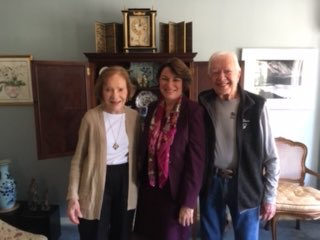 Wonderful lunch with Jimmy and Rosalynn Carter today at their home in Plains. Tomato soup and pimento cheese sandwiches! Got some good advice and helpful to hear about their grassroots presidential campaign (when no one thought they could win but they did)!