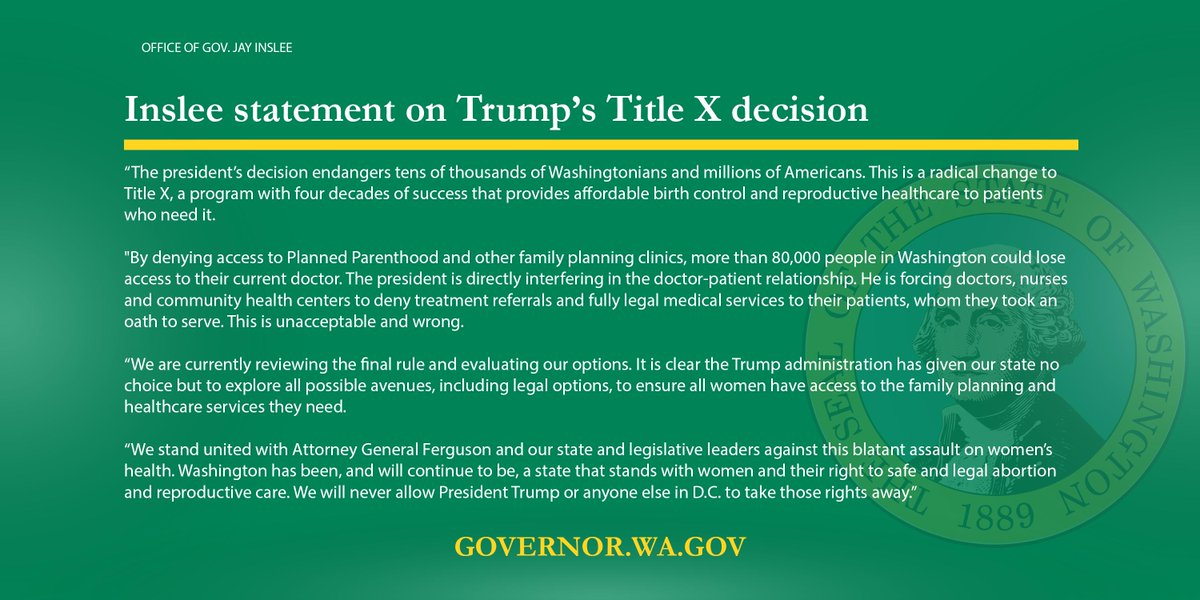 The president's decision endangers tens of thousands of Washingtonians and millions of Americans. This is a radical change to #TitleX, a program with four decades of success providing affordable birth control and reproductive healthcare to patients.  https://t.co/EcauwS9UCL