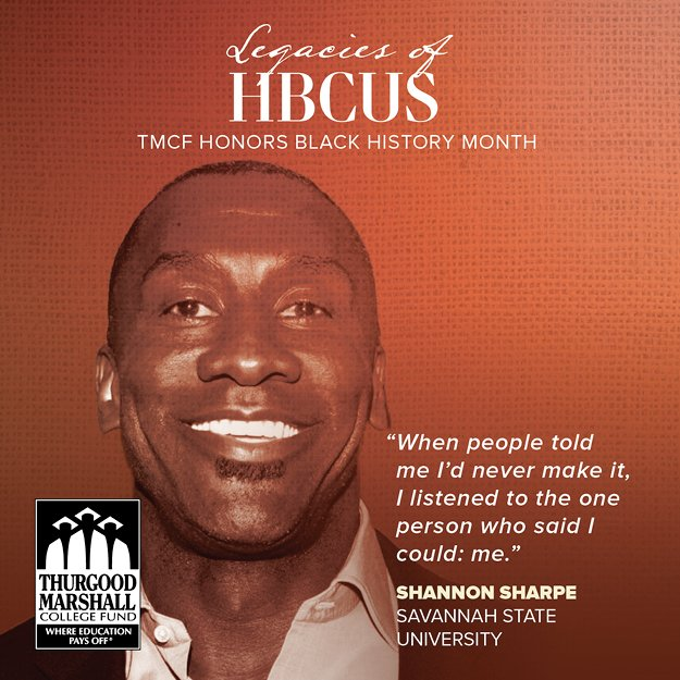 We honor @ShannonSharpe of the @undisputed for #legaciesofhbcus! The @savannahstate alum is a @ProFootballHOF inductee and has won several @SuperBowl&#39;s as a member of the @Ravens and @Broncos! #hbcus #hbcunews <br>http://pic.twitter.com/qBkEdArGEo