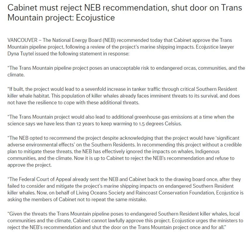 Environmental law charity Ecojustice says the NEB 'has effectively ignored the impacts on whales, Indigenous communities, and the climate' and calls on cabinet members to 'shut the door on the Trans Mountain project once and for all.' Full statement: