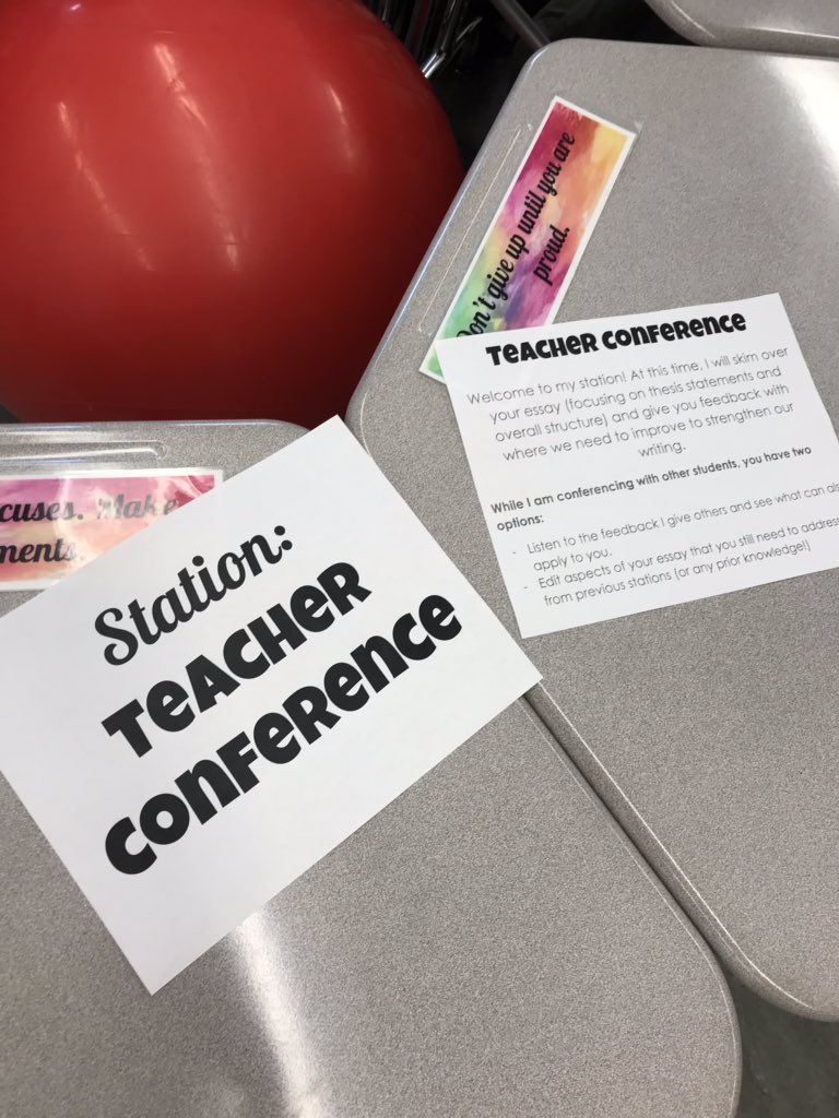 Spent the last few days doing essay revision stations with my freshmen! The stations are teacher conference, peer editing, formatting, dead words, organization, and self-grade. The best teaching strategy for writing is not wait until you grade to give students feedback! @edutopia<br>http://pic.twitter.com/Jps78nlvU1