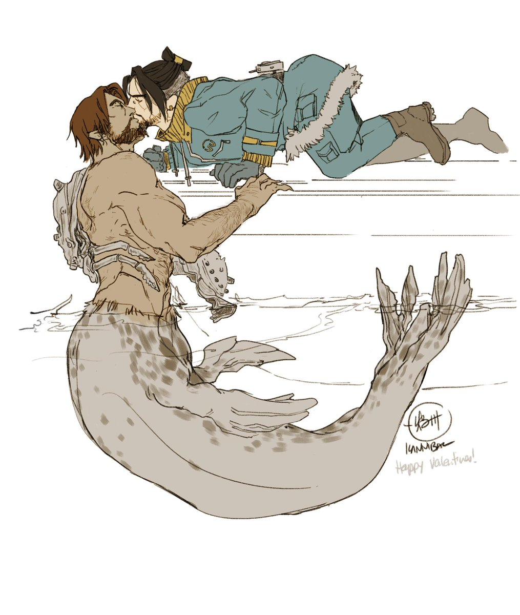 The #mchanzo #MerMay AU valentines day trade with Loch &lt;LochandLoad&gt; :&gt; Tracker #Hanzo of Ecopoint pulls his mate in for one more kiss before a mission against the Talon sea pirates (Jesse&#39;s lower half is a leopard seal)<br>http://pic.twitter.com/w6hF0d8ydD