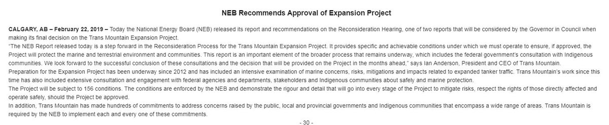 Trans Mountain CEO Ian Anderson calls today's NEB report 'a step forward' and 'an important element of the broader process that remains underway.' Full statement: