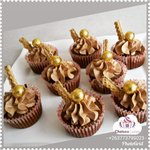 Chocolate cupcakes with cappuccino buttercream topped with wafers #yummy