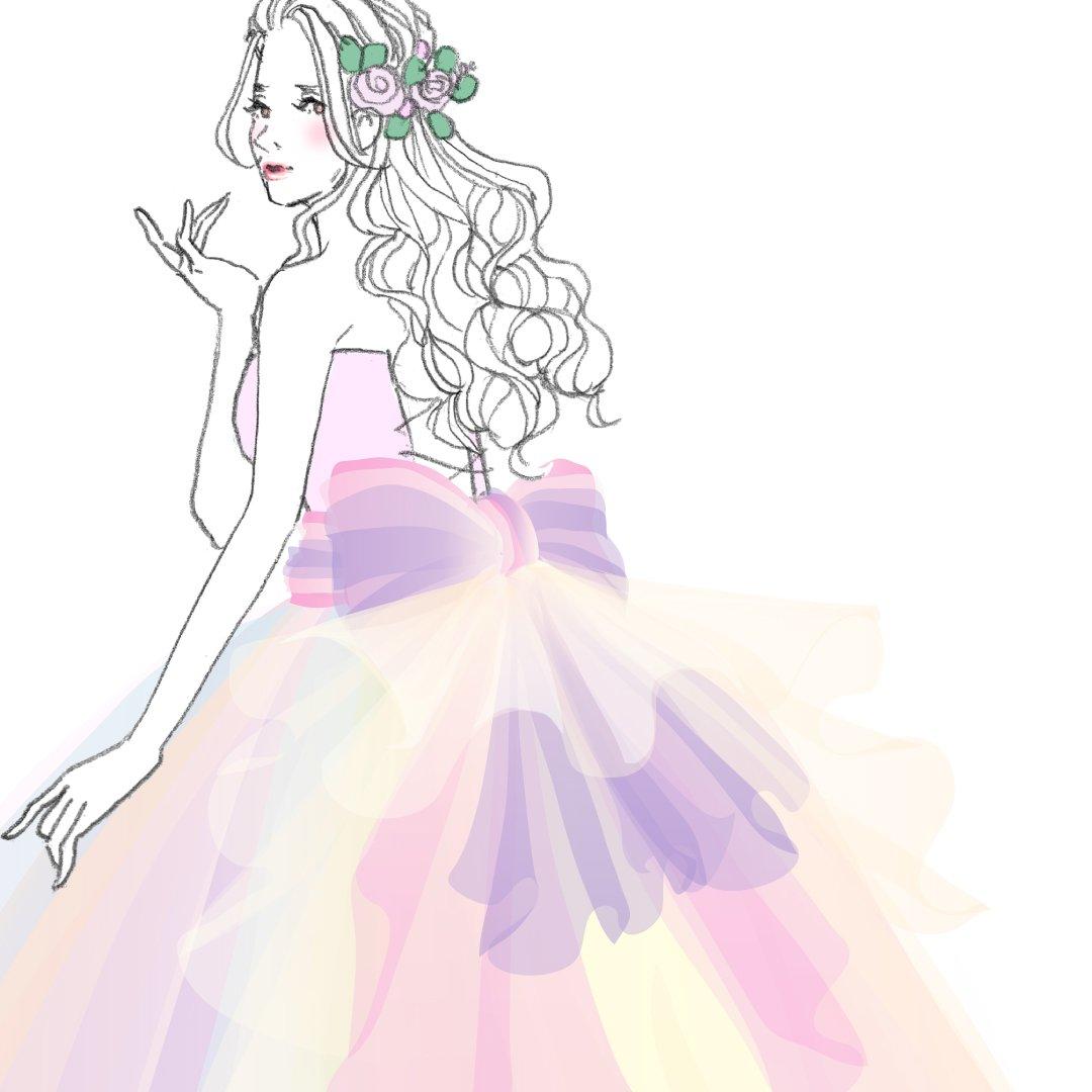 許してほしい(笑) weddingdress dress wedding グラデーションドレス ロングヘア 髪飾り 生花  ウエディングドレス ドレス イラスト カラフル かわいい
