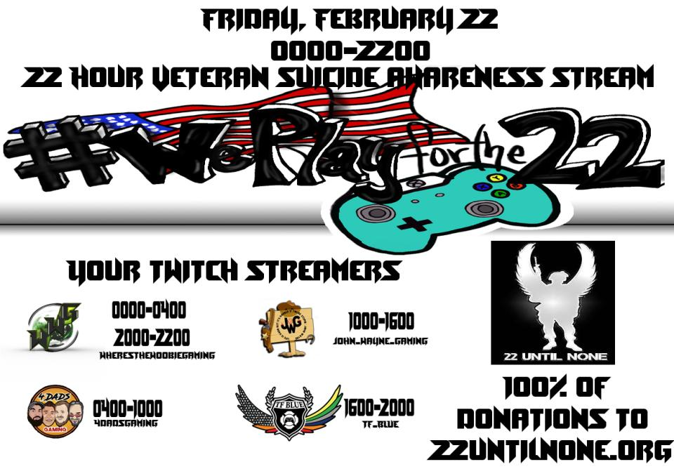Pilgrims! We are #goinglive for our part of the #22hourstream for #veteran #suicideawareness. Come #jointhefight and #shatterstatistics while #WePlayForThe22 if you #supportvets and would like to #help the #charity #22UntilNone with us make sure you #tunein #soon!<br>http://pic.twitter.com/hrTarVdlKN