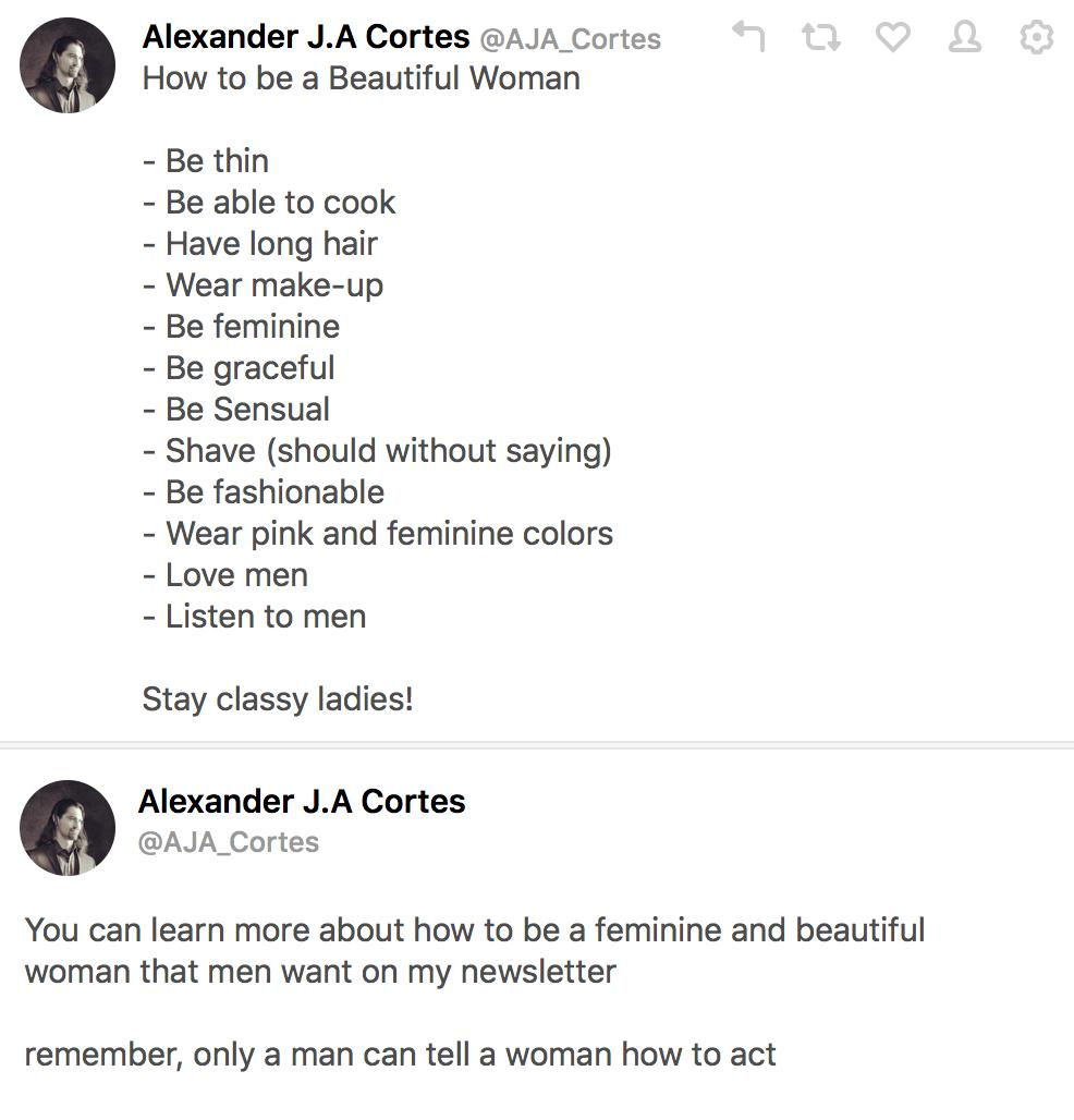 Alternatively, here's how to actually be a beautiful woman:  - Just be yourself - Don't date men who base your worth on obedience and physical traits, like this steaming pile of misogyny and toxic masculinity.