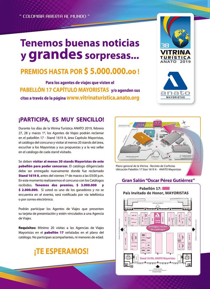 Visitamos y gana hasta $5.000.000 en la Vitrina Turística Anato 2019 Pabellón 17 Mayoristas #Anato #VitrinaTuristica2019 #Agenciasdeviajes