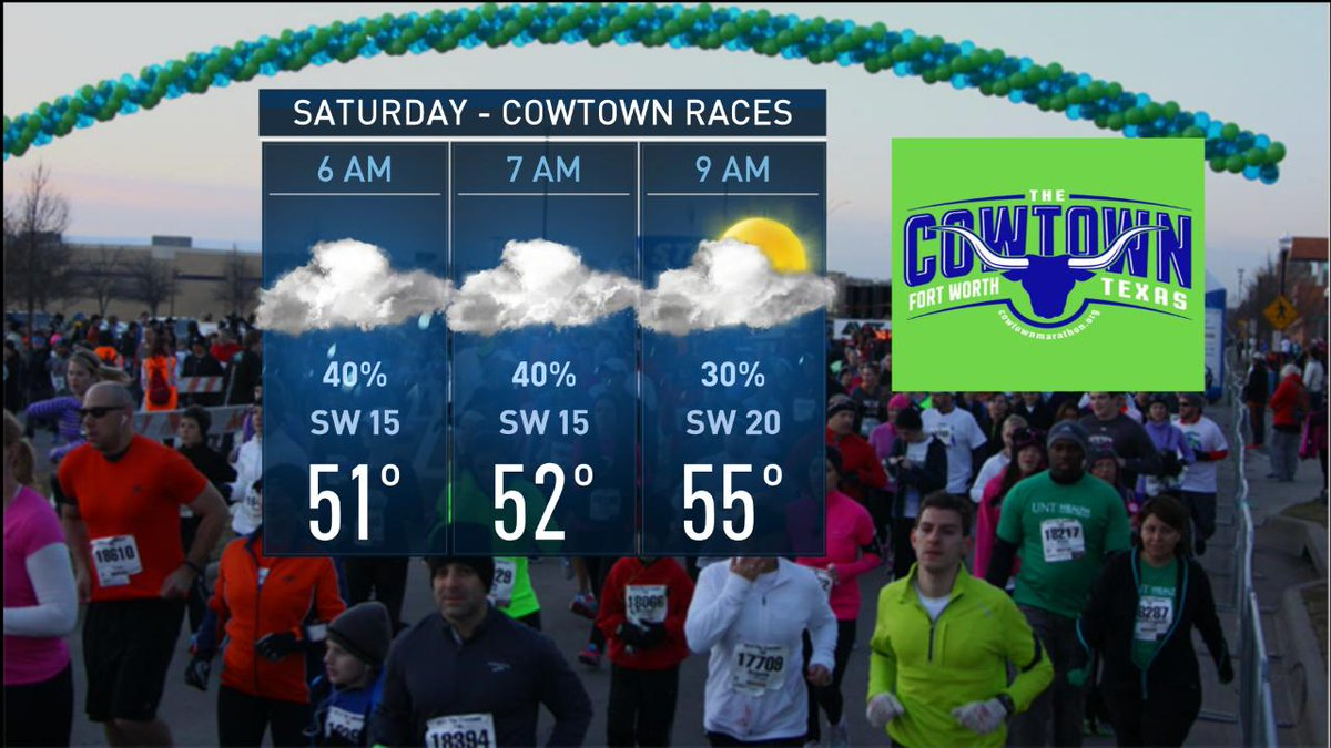 A few storms may impact the start of The Cowtown Marathon on Saturday morning. Races start at 7, 8:30 and 9:30 A.M. http://www.nbcdfw.com/weather  #NBCDFWWeather #dfwwx #Cowtown @nbcdfw @NBCDFWWeather