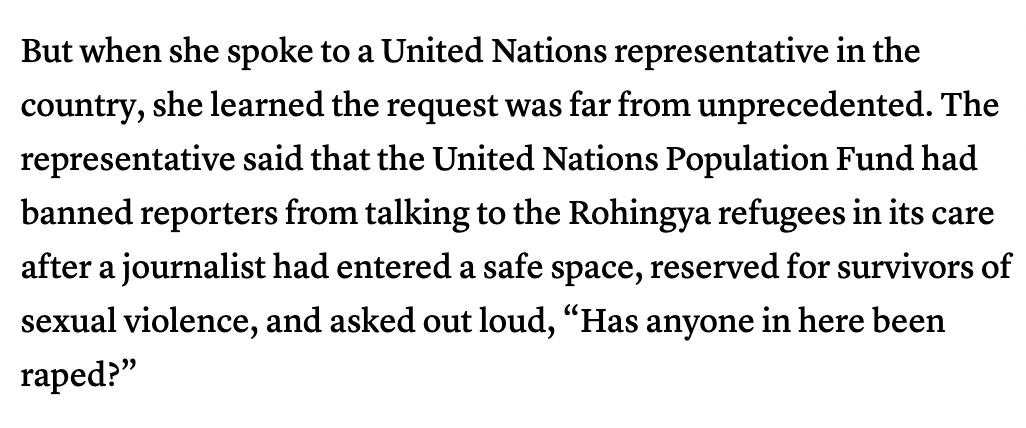 I'm so tired of having to apologize for reporters like this when I interview rape survivors and victimized people who have had previous exposure to the media. https://www.cjr.org/analysis/rohingya-interviews.php…