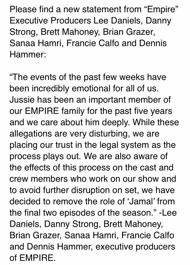 'Empire' producers say they are removing Jussie Smollett's character from the final 2 episodes of this season. They say in a statement: 'We are placing our trust in the legal system as the process pays out.' Background:  https://t.co/0j6gKxIlVb