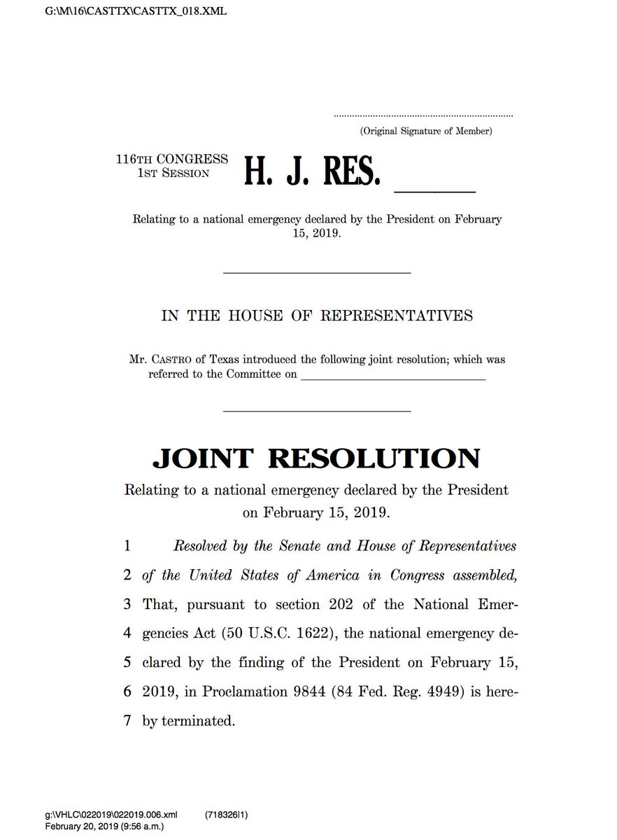 Joint resolution (now numbered H.J.Res.46) currently has 226-227 cosponsors including one House Republican @justinamash of Michigan according to bill author Rep. Castro (D-TX).