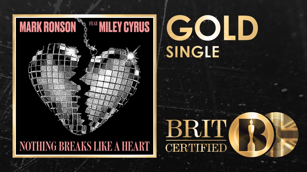 BIG CONGRATS to @MarkRonson & @MileyCyrus - 'Nothing Breaks Like A Heart' has just been certified GOLD in the UK! 📀💔🇬🇧