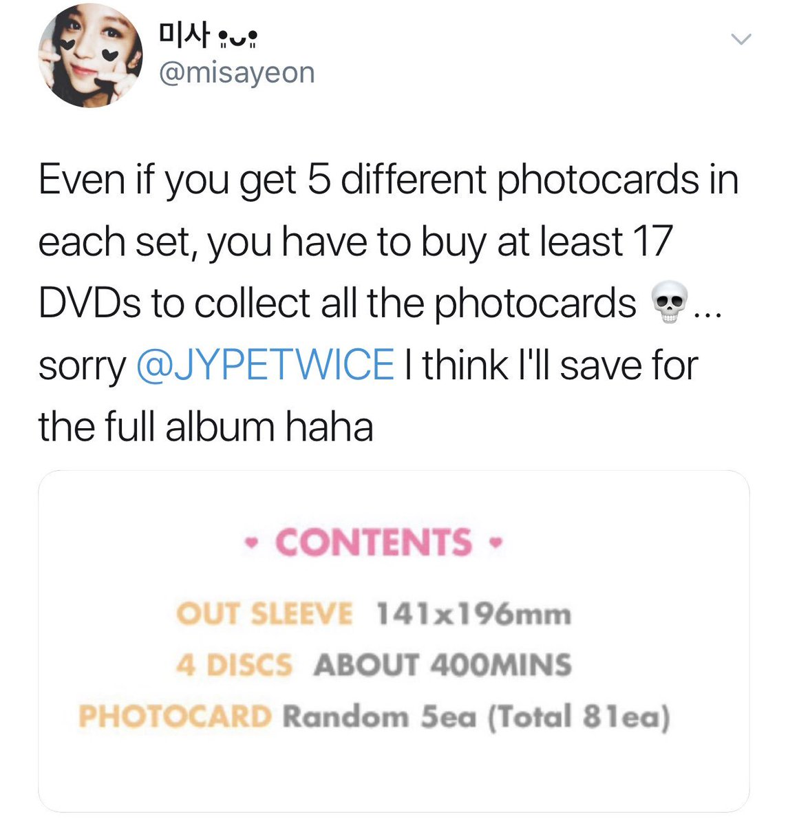 Remember back when we complained about Twicecoaster Christmas/scam version? Those were simpler times bc now it's almost impossible to be an Once collector without blowing $$$ on superfluous content like 295838 cards and Twice TV episodes that should've been part of monographs.. <br>http://pic.twitter.com/gOhy7D1HLC