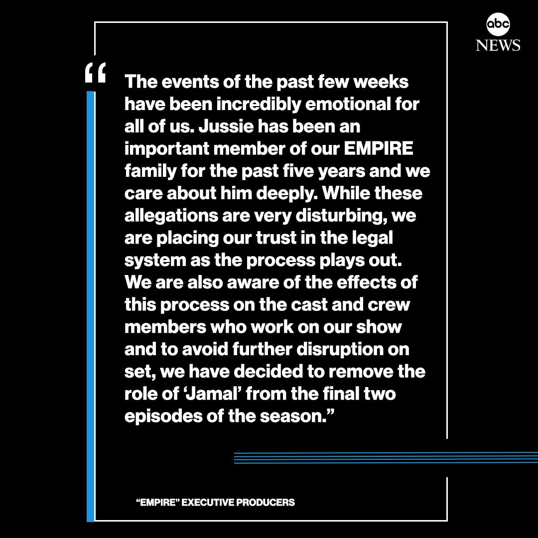 "JUST IN: Jussie Smollett will be removed from final two episodes of ""Empire."" https://abcn.ws/2E23nR6"