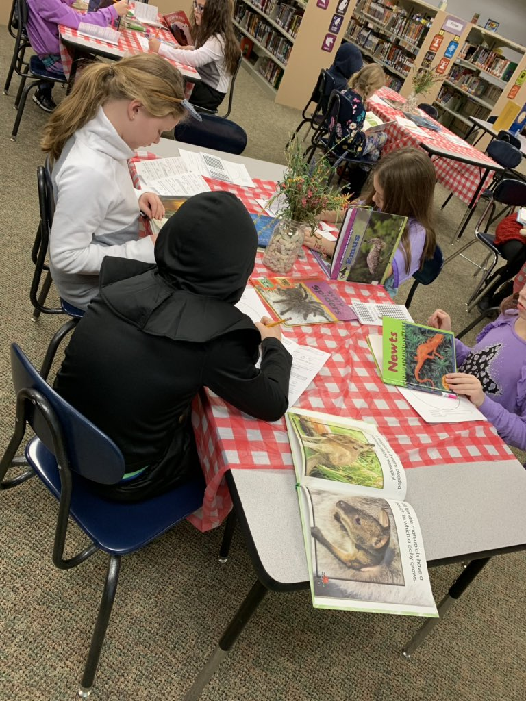 Nonfiction book tasting with Mrs. Scieszinski's class to get ideas for research topics. #lctitanhill @lisa_ski801