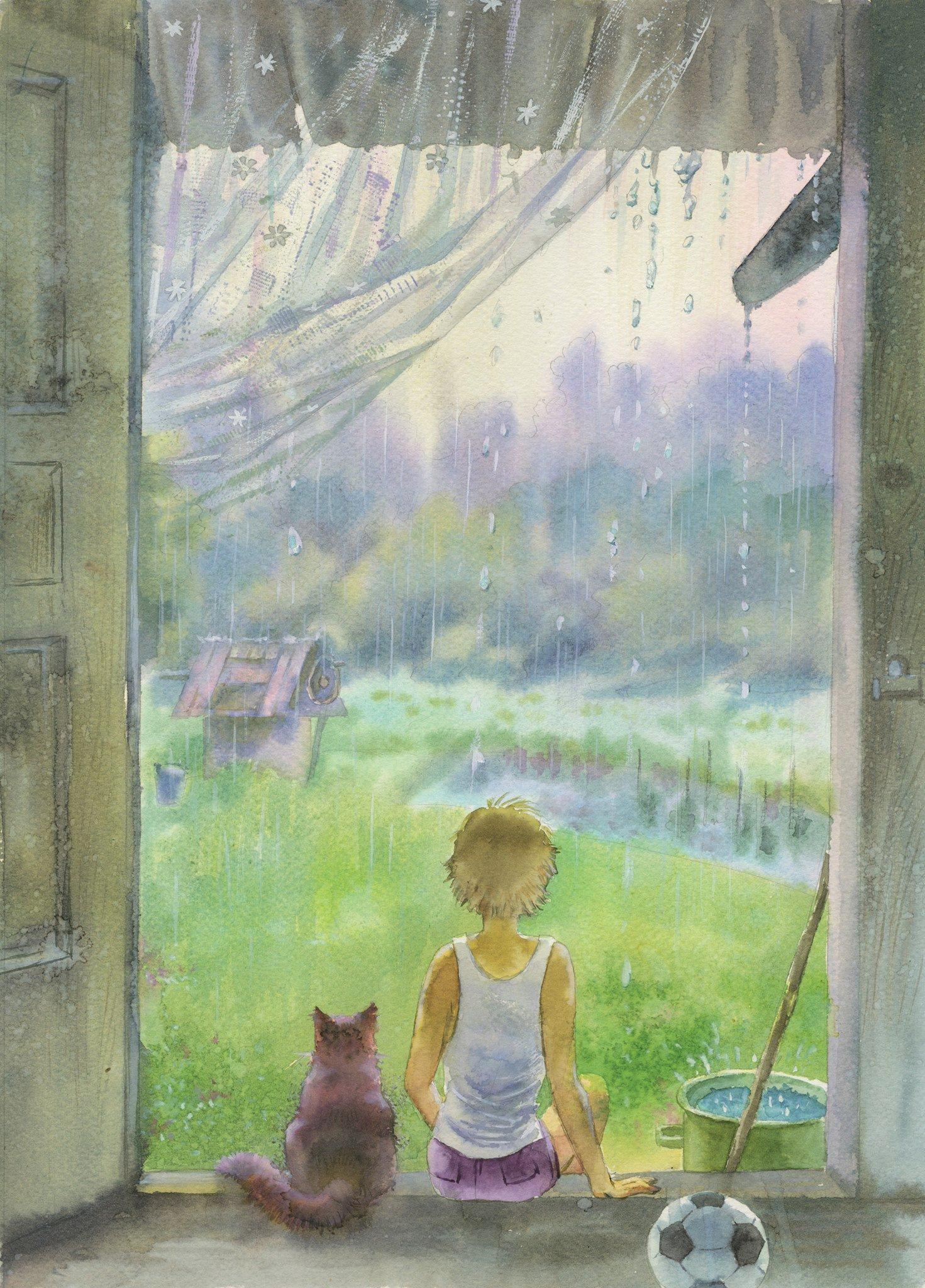 Рисунок дождь за окном, для крестин
