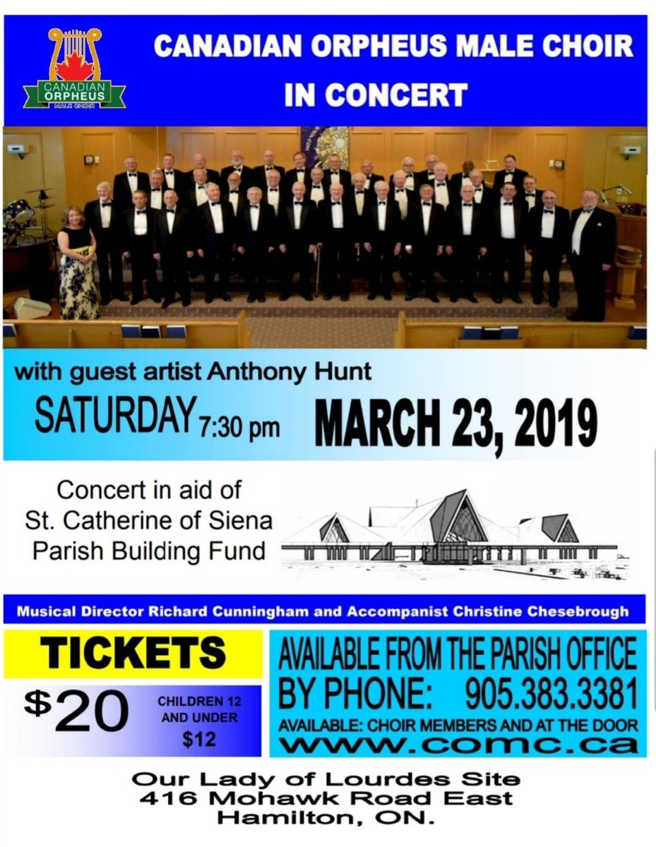 Come and see the men who love to sing perform on March 23, 2019.  A concert in aid of the St.Catherine of Siena Parish Building Fund #HamOnt  Our Lady Of Lourdes Site, 416 Mohawk Rd. E. #Hamilton  More info at  https://www. catherineofsienachurch.ca  &nbsp;   and  http://www. comc.ca  &nbsp;  <br>http://pic.twitter.com/r0nZswRBZR