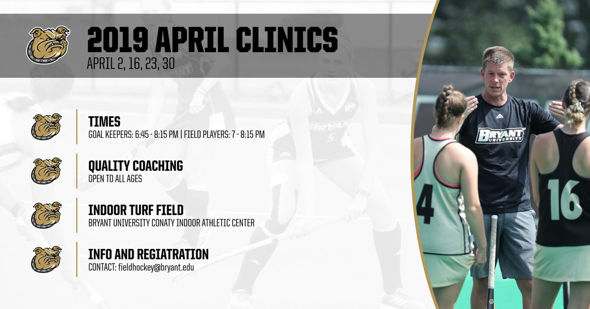 Our April clinics are here! 🌷  Learn from the best with quality coaching from our experienced coaches. Register using the link below ⬇️  🏑: http://bit.ly/FH19-April-Clinics …  #GoBryant