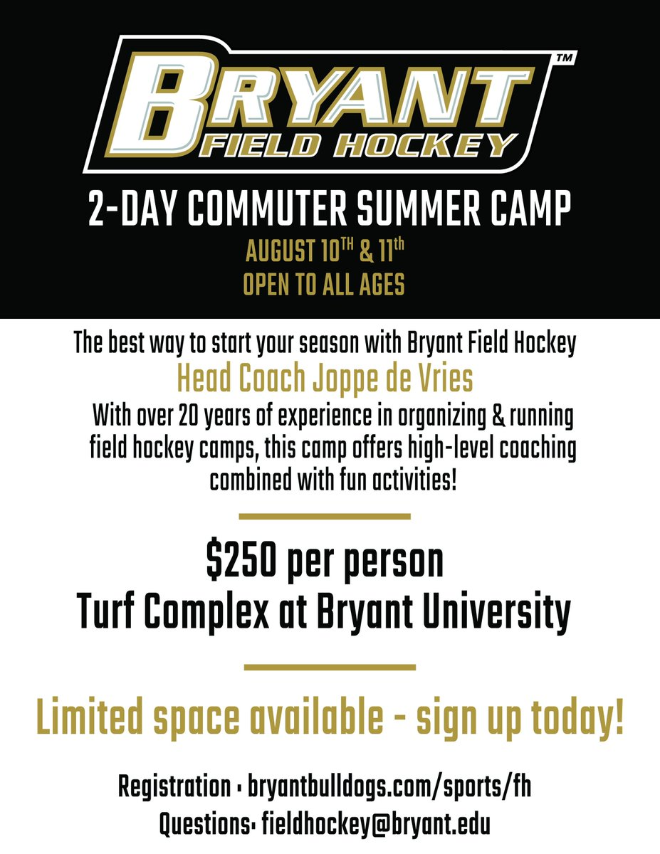 Don't forget about our two-day commuter summer camp!  Spots are filling up fast and you won't want to miss out.   🏑: http://bit.ly/FH-Summer-Camp   #GoBryant