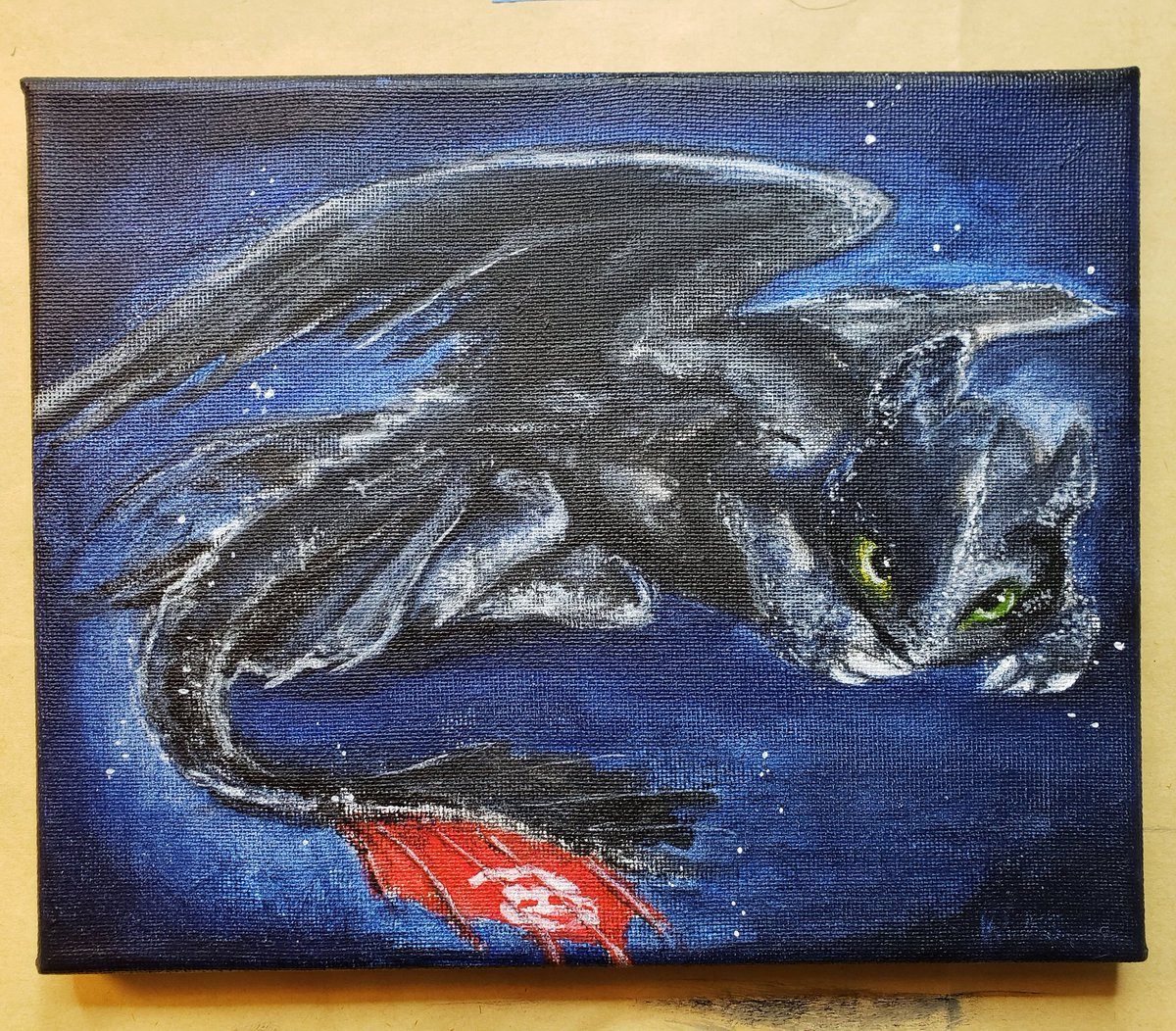 Finished toothless tonight on stream!! This piece will be open for bidding later this week <3  #HTTYD #HTTYD3 #Dragon #dragonart #acrylics #twitch