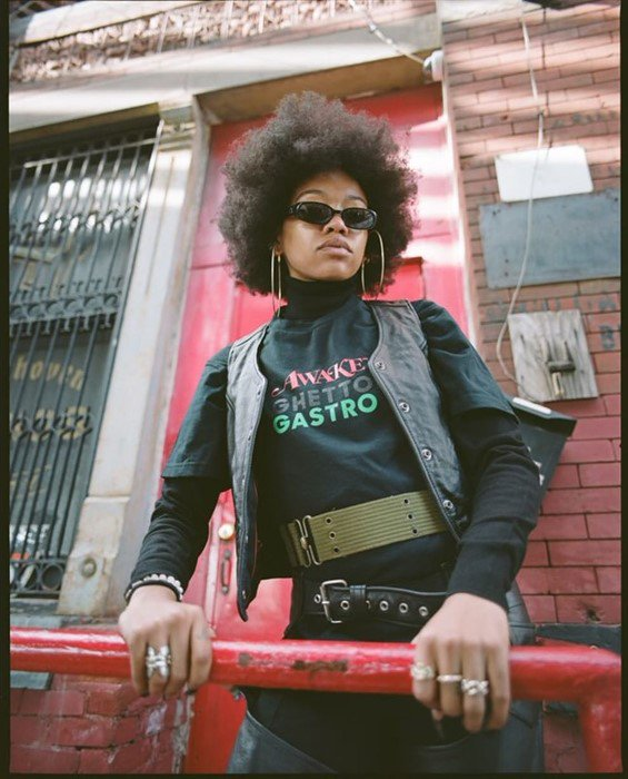 Though a culinary collective, Bronx-based Ghetto Gastro has been making its mark on the fashion industry since its launch.  Now, it has joined forces with New York-based label Awake NY for a capsule collection of graphic t-shirts and jackets:  https://t.co/9tDqr34I9I