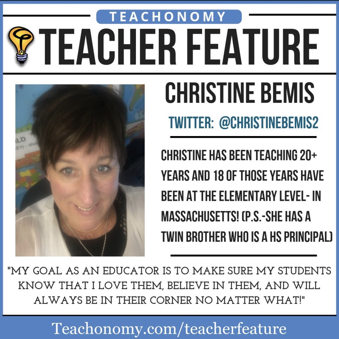 """I've been itching to send this tweet out since I got word that @ChristineBemis2 was the """"teacher feature"""" in @cpoole27  http:// Teachonomy.com/Teacherfeature  &nbsp;   #bfc530 she will be moderating #wcwarriors4kids this Sunday 2/24 at 8:30!  The topic is  Risk Taking!  Don't miss it!<br>http://pic.twitter.com/7UvC27cDUx"""