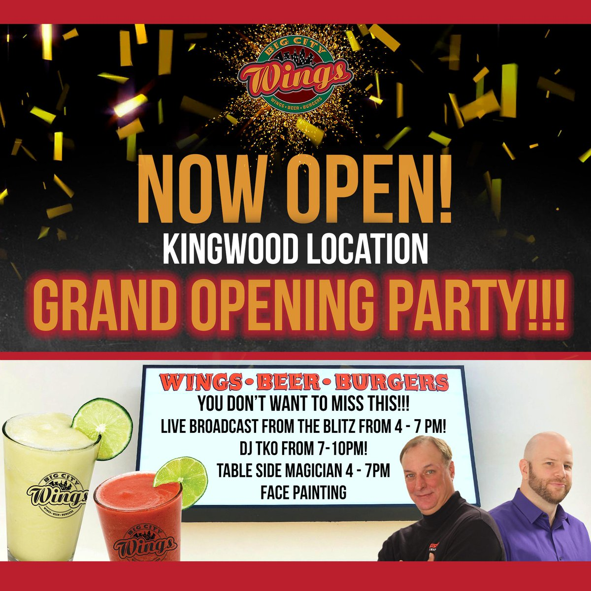 Kingwood Grand Opening Party TONIGHT, Friday 2/22! 🎉 Join the fun with a live broadcast with AJ Hoffman & Fred Faour from The Blitz @espn975, a tableside magician, face painting for the kiddos, giveaways and DJ TKO.  📍1522 Kingwood Dr., Kingwood TX, 77339