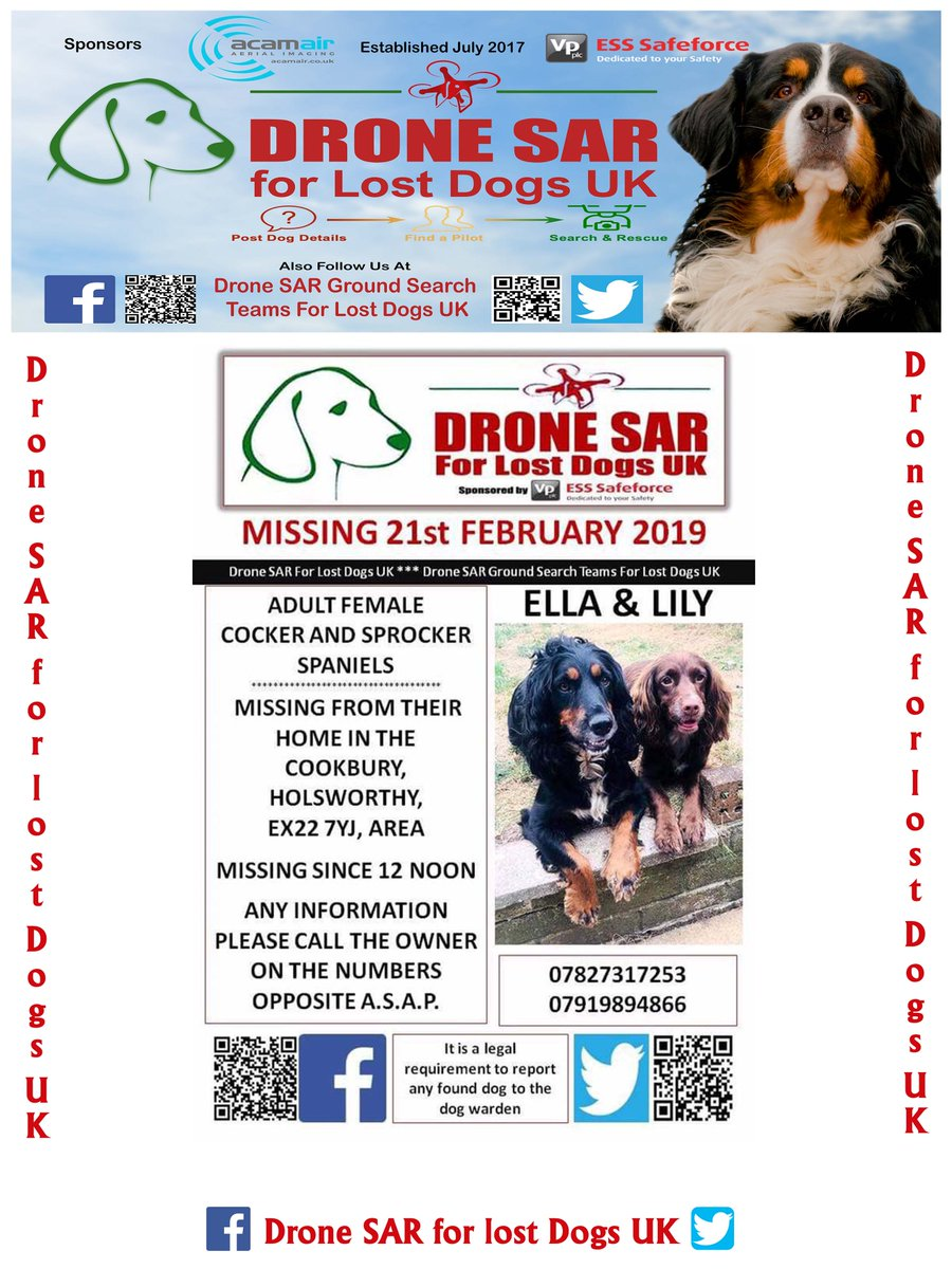 #LostDog #Alert Ella &amp; Lily missing from their home in Cookbury Holsworthy EX22 area Missing since 12 noon today Fri 22nd Feb #MissingDog #DroneSAR<br>http://pic.twitter.com/xVrLJ2sCXZ