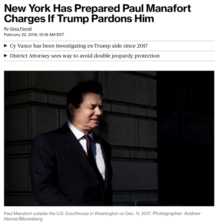 NY state prosecutors have prepared charges against Paul Manafort they can file quickly if Trump pardons him. DA Cy Vance's office has identified areas where Manafort can be charged with state offenses without triggering double jeopardy protections. #Maddow https://bloom.bg/2GTJu1L