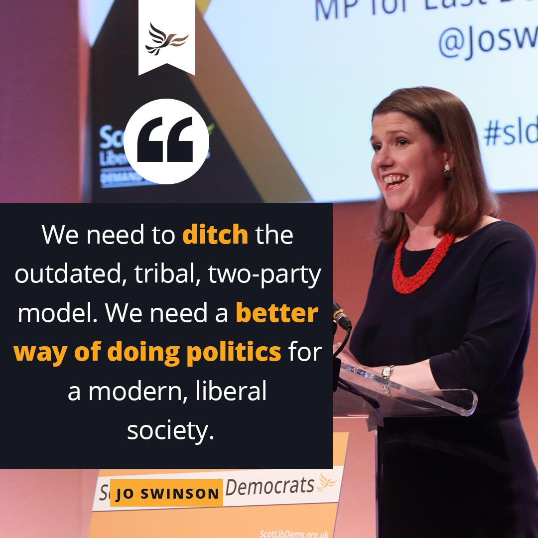 .@JoSwinson: We share your desire to shake up the status quo, to challenge those in power who are failing our country. We need to ditch the outdated, tribal, two-party model. We need a better way of doing politics for a modern, liberal society 2/2 #sldconf