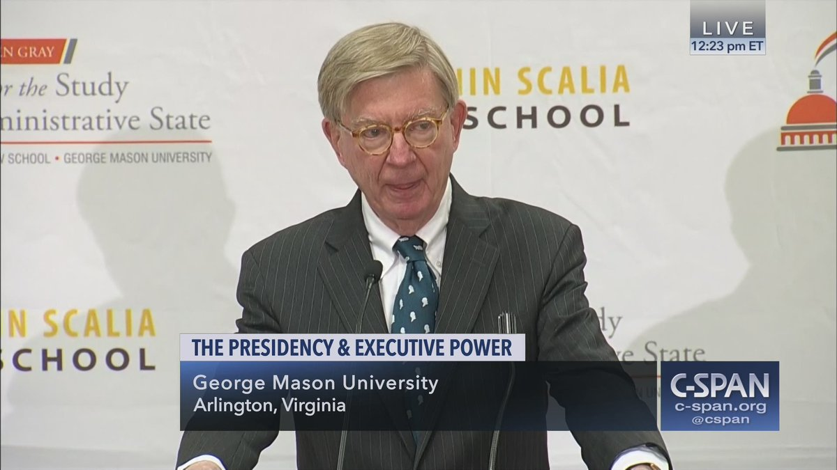.@GeorgeWill discusses Growth of Executive Power, @georgemasonlaw hosts – LIVE on C-SPAN https://cs.pn/2EnorCQ