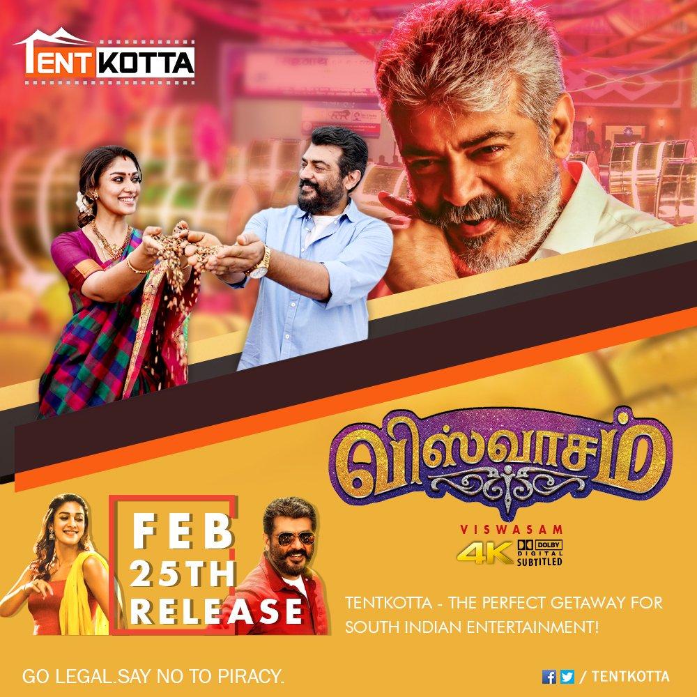 Alltime blockbuster 🔥 Alert: #ThalaAjith's #Viswasam on Tentkotta from Feb 25th.  #GoLegal #SayNoToPiracy